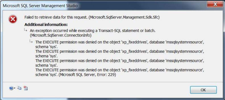 Error message when database file location changed