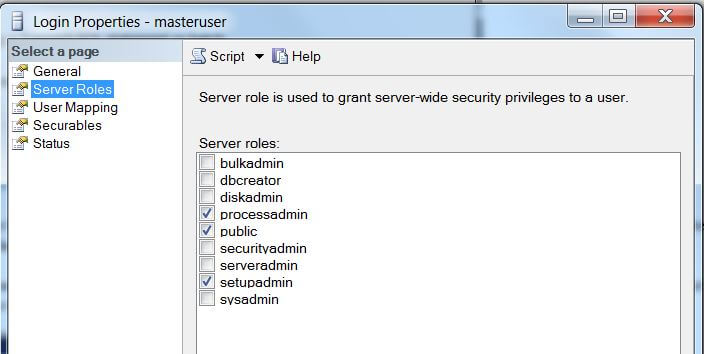 Default server roles for the master user