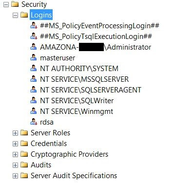 Default logins created in an RDS SQL Server instance