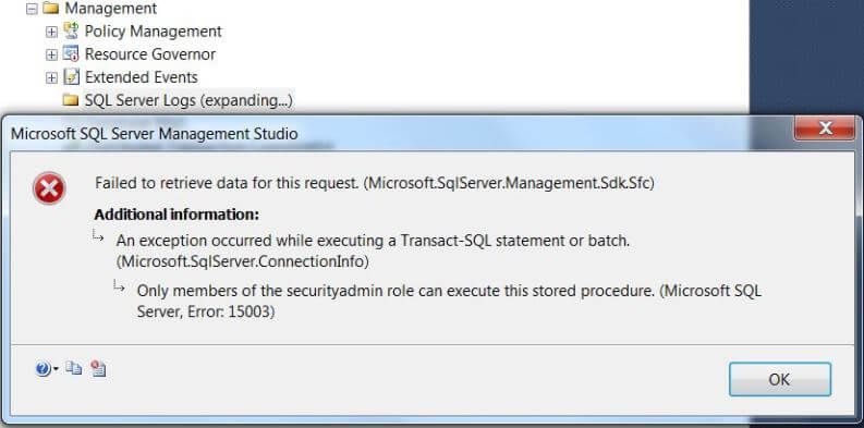 SQL Server error logs cannot be accessed from Management Studio