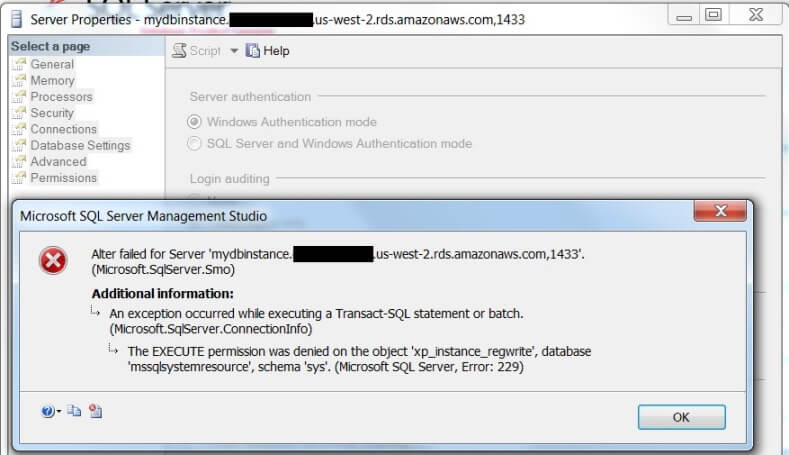 SQL Server authentication property can't be changed to Windows-only