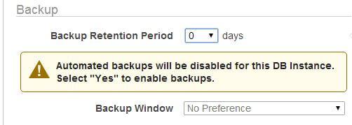 RDS warns if backups are disabled