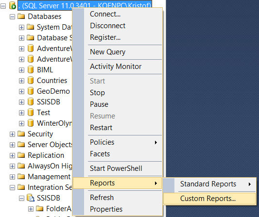 The report is not added to the context menu of another object in SSMS.