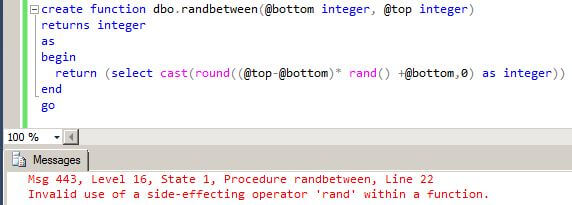 Invalid use of a side-effecting operator 'rand' within a function.