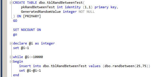 The GeneratedRandomValue column will be populated using our new RANDBETWEEN function.