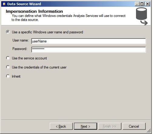 "On the Impersonation Information screen, click on ""Use a specific Windows user name and password."