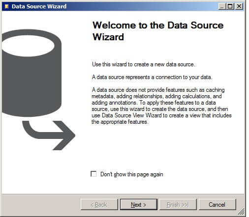 Initiate the Data Source Wizard.