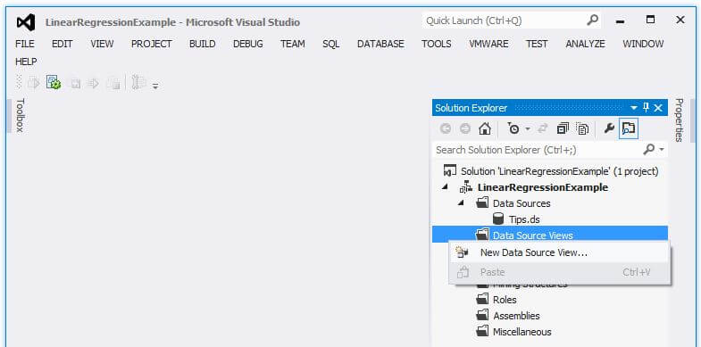 "In the Solution Explorer window, right-click on the Data Source Views folder and choose ""New Data Source View..."""