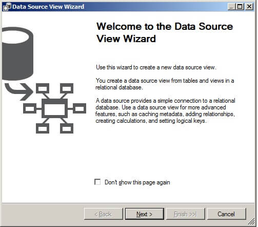 Launch the Data Source View Wizard.