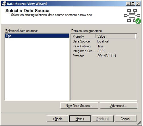 On the Select a Data Source page in the Relational data sources list box