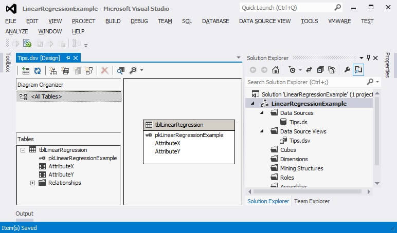 The data source view now appears in the Solution Explorer window.