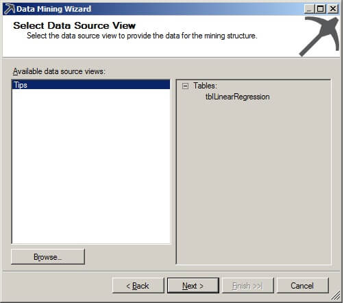 "On the Select Data Source View page, we will use our previously defined data source object. Click on ""Next >""."