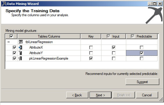 On the Specify the Training Data page, check the box in the Key column.