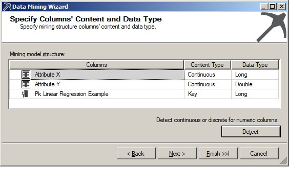 The default values for the Content Type and Data Type are shown below on the Specify Columns' Content and Data Type page