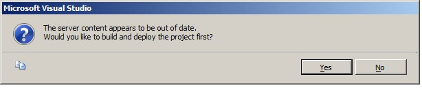"When asked if ""Would you like to build and deploy the project first?"", choose ""Yes""."