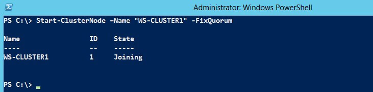 Use the Start-ClusterNode PowerShell cmdlet, passing the -FixQuorum parameter.