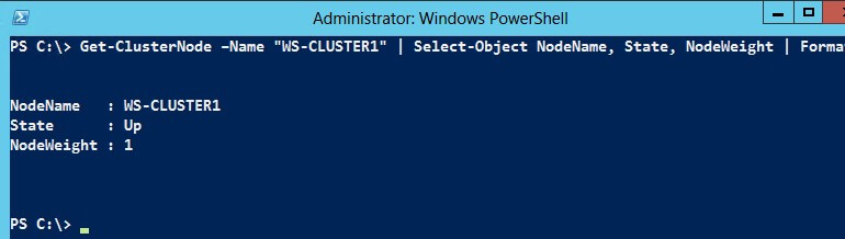 Verify if the settings were applied by running the Get-ClusterNode PowerShell cmdlet and displaying the State and NodeWeight properties.