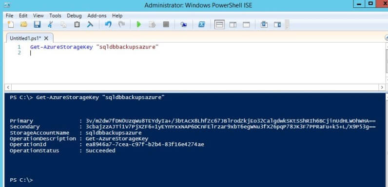 retrieve the access keys that we can use for taking backups using the Get-AzureStorageKey cmdlet.