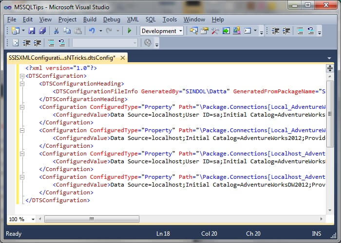 Formatted XML Configuration File