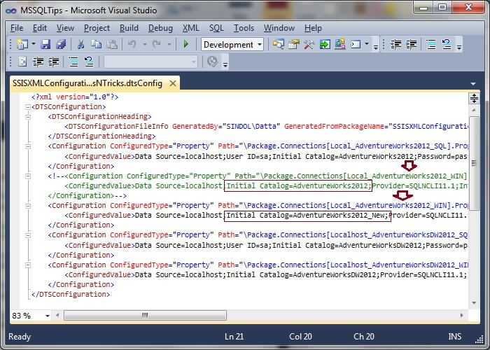 Commenting Configurations - XML Configuration File