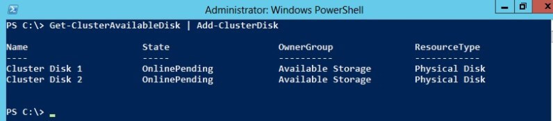 Therefore, I can add those disks to my cluster using the Add-ClusterDisk cmdlet.
