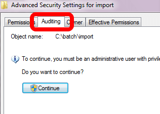 Click on the Auditing tab and, if necessary, click on the button with the shield and Continue