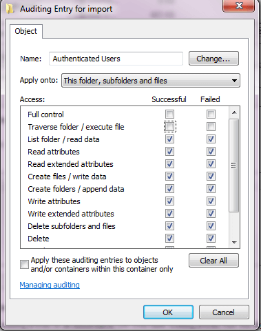 You'll get a dialog box which allows you to add, remove, and modify who is being audited, and for what actions.