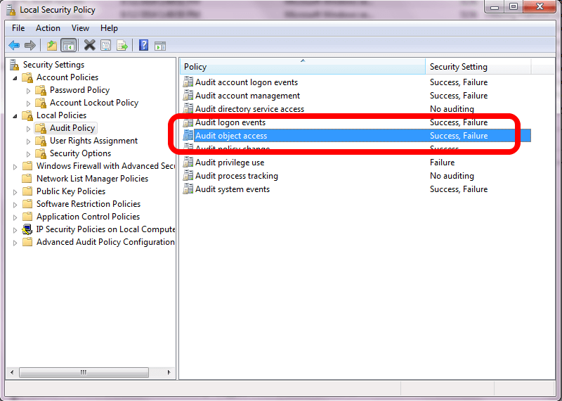 Verifying Settings in the Local Security Policy