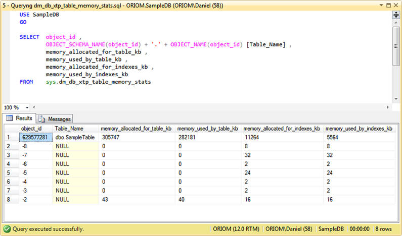 Select to sys.dm_db_xtp_table_memory_stats
