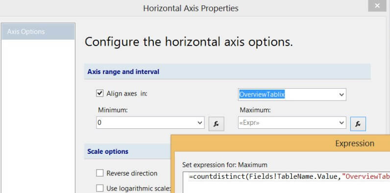 Configuring the horizontal axis
