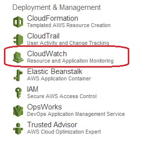 Choosing the CloudWatch option from AWS Management Console