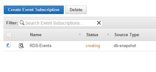 Event subscription creation status