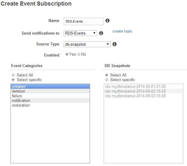 Event subscription properties