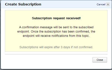 Subscription request confirmation