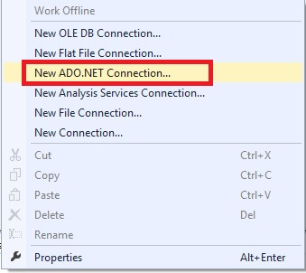 Now open an Integration Services Project in Visual Studio