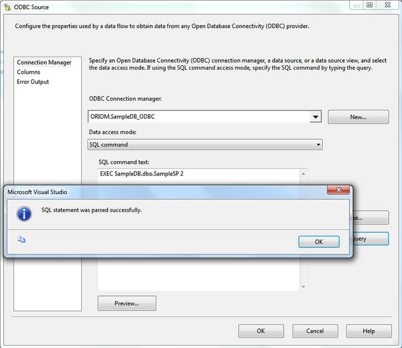ssis execute stored procedure with parameters in data flow