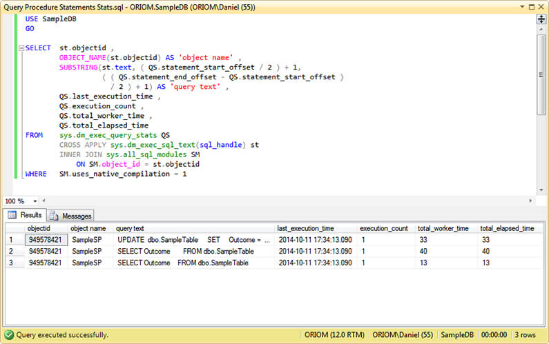 Natively-Compiled Stored Procedure Query Statistics.