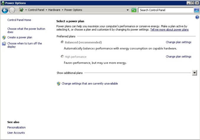 Windows Server OS Power Options form is accessible from Control Panel