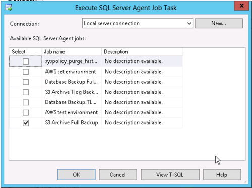 "In SQL Server Management Studio if we want to run an external command from a maintenance plan we need to use the ""execute SQL Server agent job"" task"