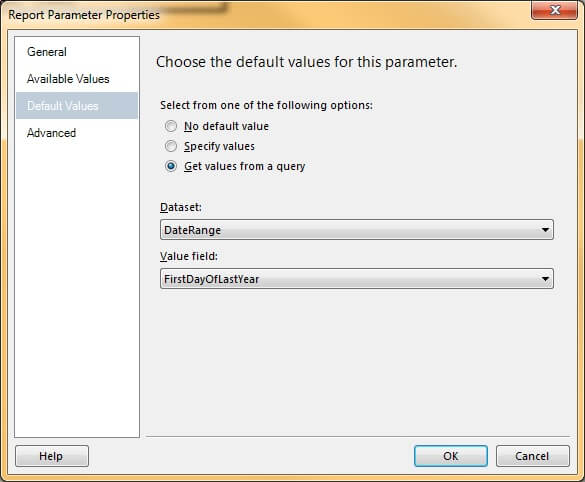Parameter - Default Values Tab