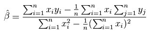 Formula for retrieving the slope