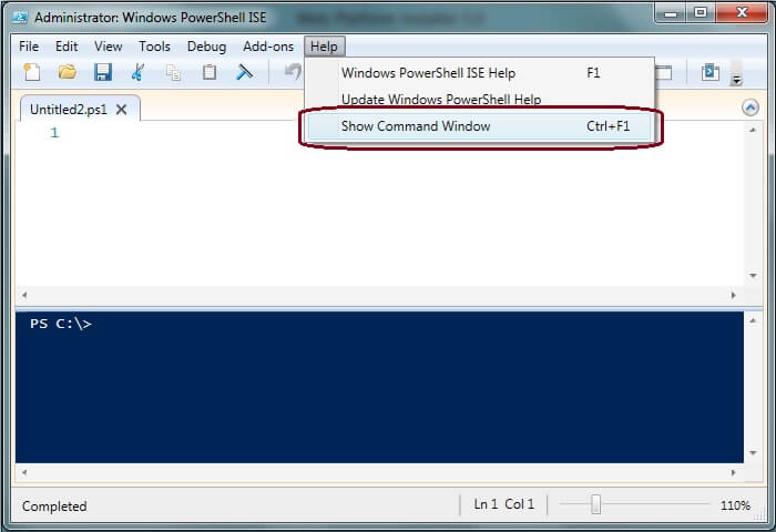 Windows PowerShell ISE - Show Command Window