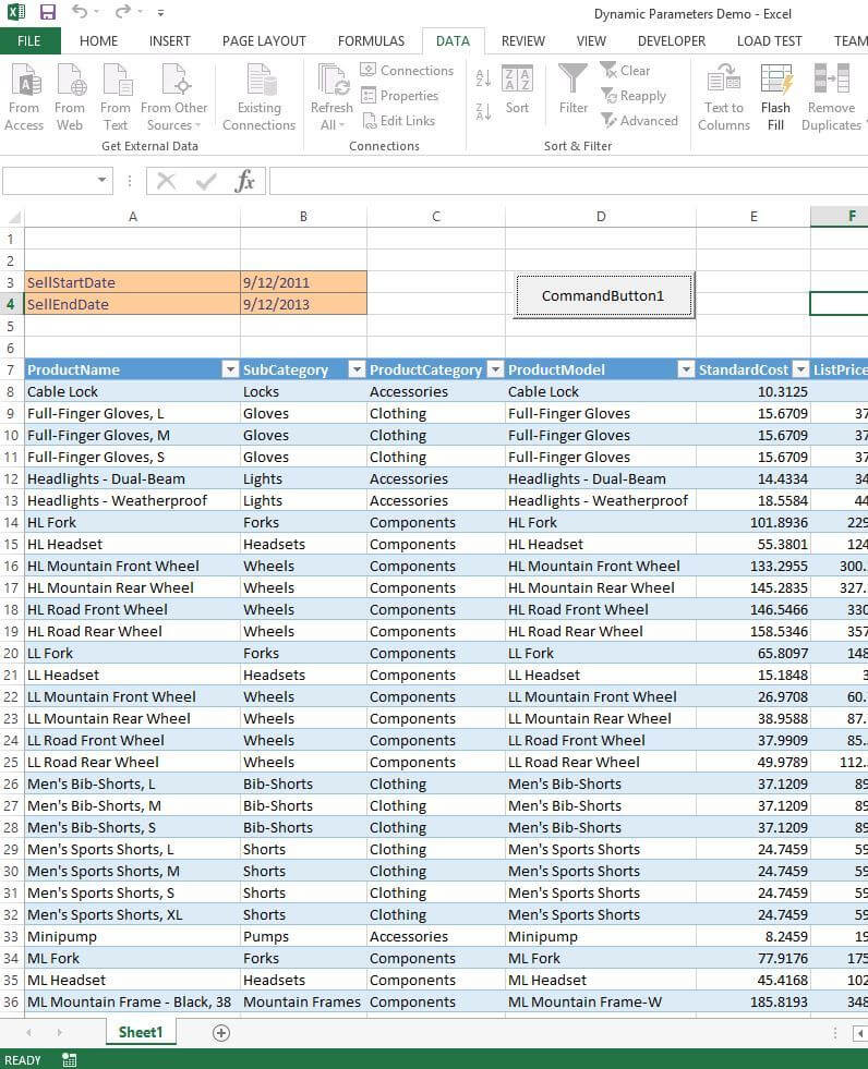Passing Dynamic Query Values from Excel to SQL Server
