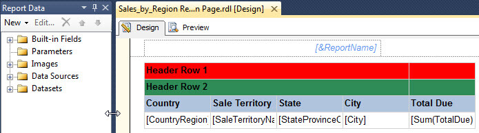 for this simple example even with the three header rows we can easily get the row and column headers to repeat on each page by going to the tablix - Sql Report Writing