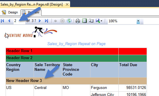 SQL Server Reporting Services (SSRS) Repeating Headers On Pages