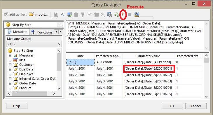 Calendar date picker for mdx based sql server reporting for Query design window