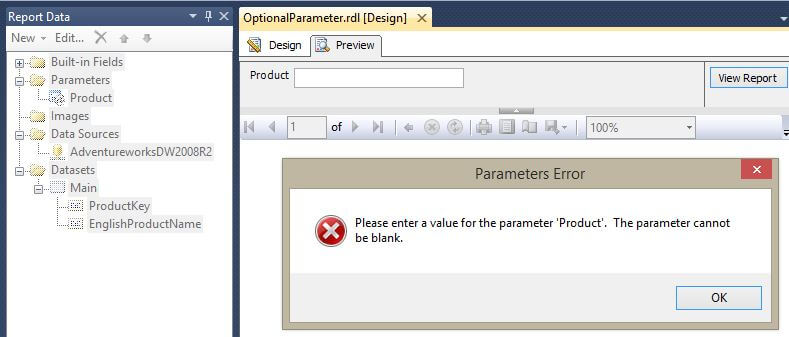 Missing Parameter Value Error Message