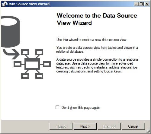 First page of data source view wizard