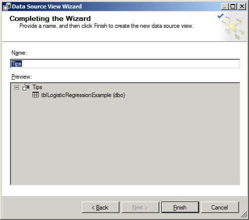 Completing the data source view wizard
