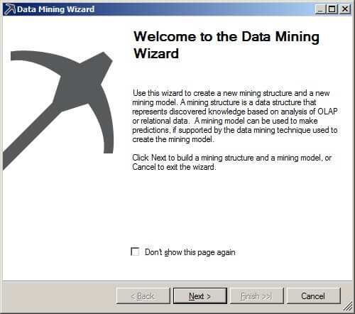 First page of the data mining wizard